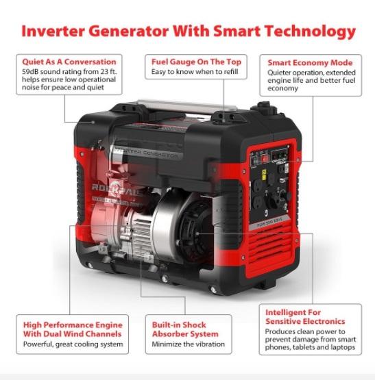 rockpals r2000i 2000 watt inverter generator features